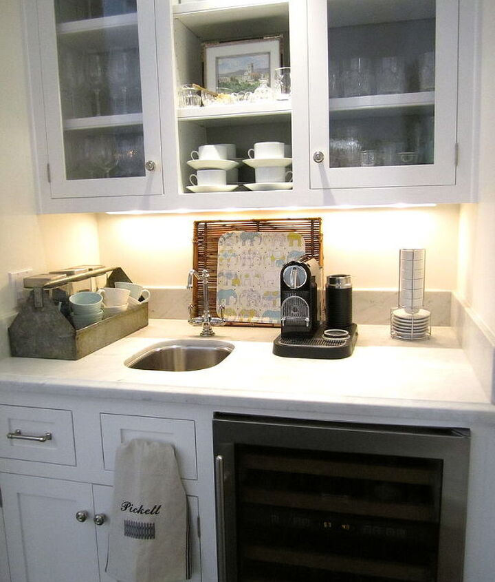 I love this unused space that we carved out for a beverage center.  Come see my pantry!