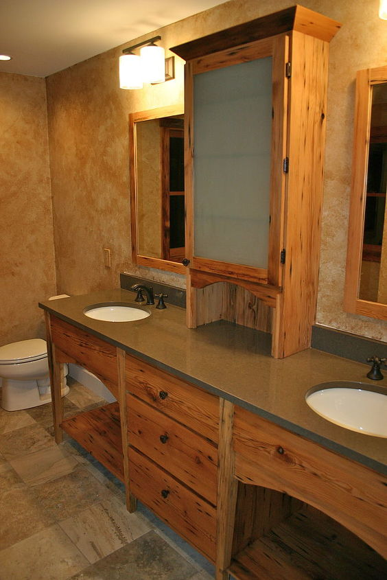 bathroom vanity faux finish cambria stone countertop design antique barn wood, painted furniture, woodworking projects
