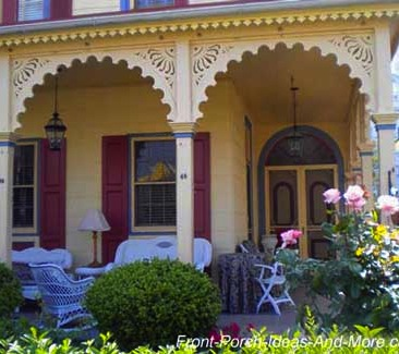 On this particular porch the spandrels create arches between the columns giving the porch a softer, more comfortable look.