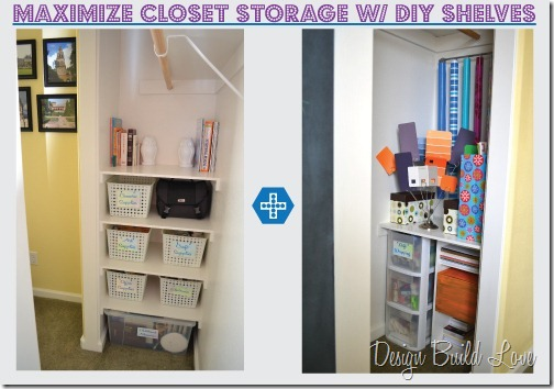 Each side of the closet got a different treatment based on the items that I needed to store, but the installation of the shelves was exactly the same and the result was perfect storage!  The best part... I didn't spend a dime!