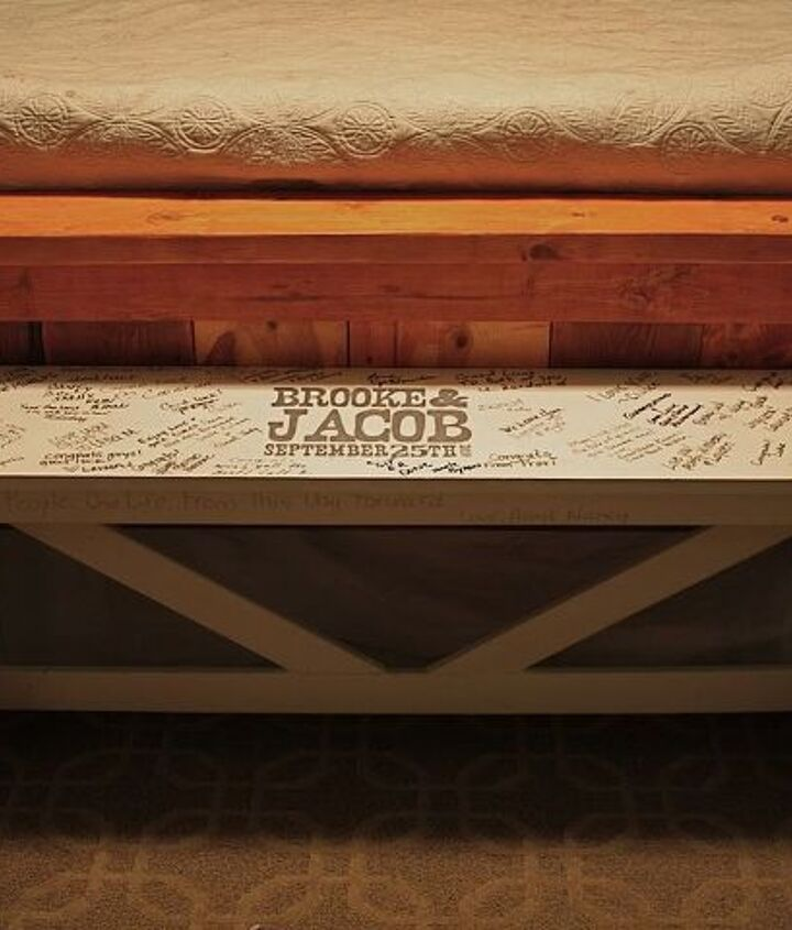 wedding guestbook bench, diy, how to, painted furniture, rustic furniture, woodworking projects