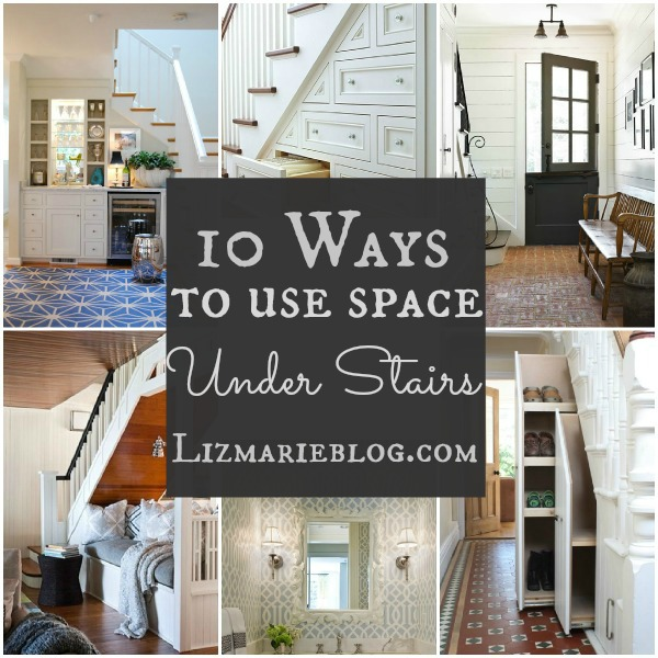 10 ways to use space under stairs at lizmarieblog.com