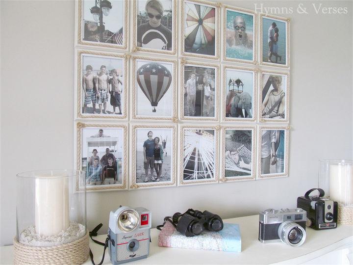 summer coastal themed photo display, home decor, Summer Coastal Photo Display