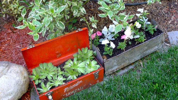 garage sale conversions and a bit more, gardening, outdoor living, repurposing upcycling, Have been admiring tool box planters so a couple of cheap finds and here we go