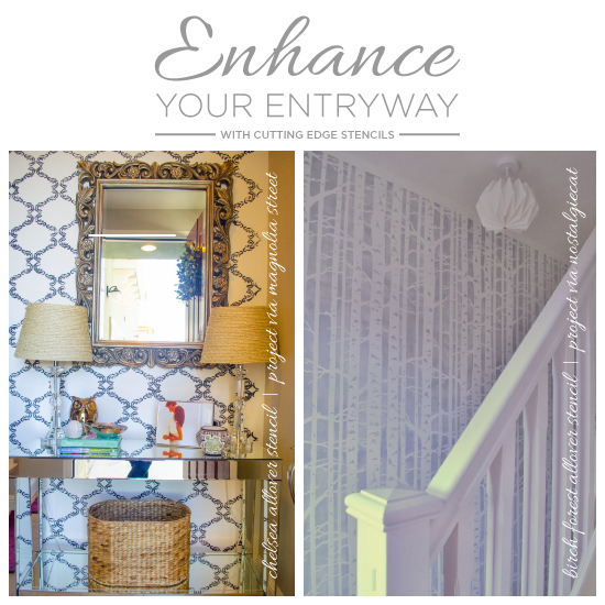 enhance entryway with stencils, foyer, painting, wall decor, Stencils can enhance a dull entryway just like they did for in these stenciled entryway projects