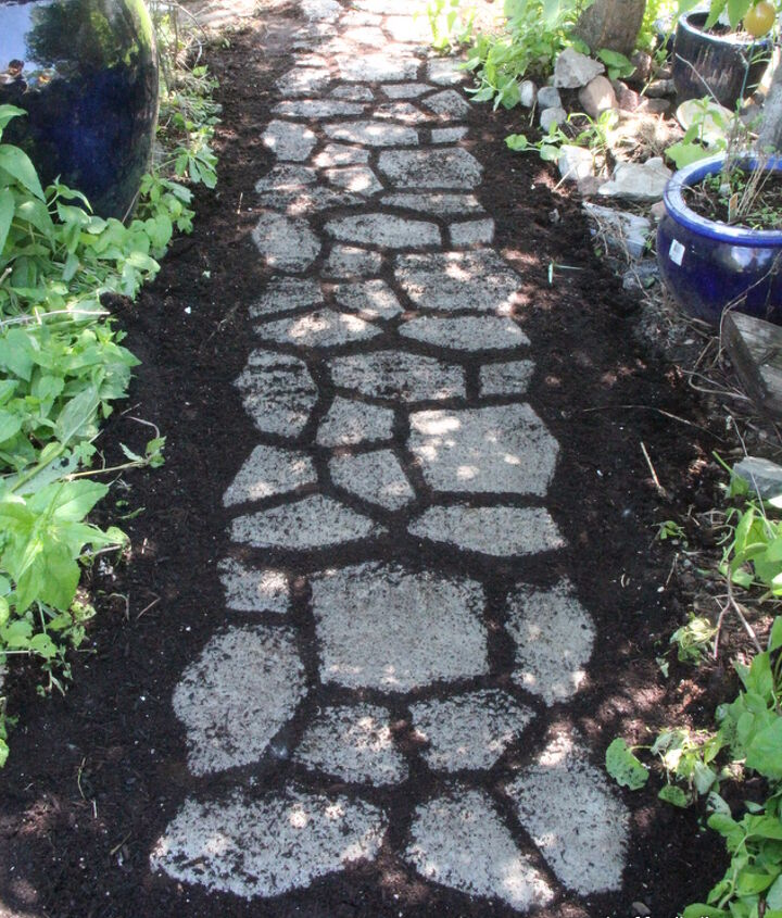 A cobblestone path created from ready-mix concrete.