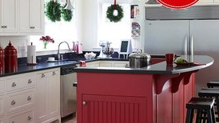 q staining cabinets, kitchen cabinets, painting, Painted island and cute drawer pulls Photo BHG