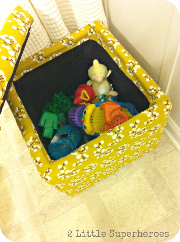 storage cube makeover using just a yard of fabric and staple gun, bathroom ideas, cleaning tips, painted furniture