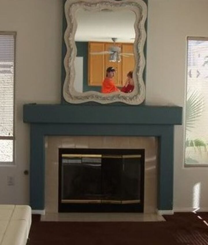 faux marble family room fireplace re do, fireplaces mantels, home decor, painted furniture