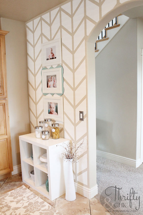 herringbone pattern accent wall, diy, home decor, how to, kitchen design, paint colors, painting, wall decor