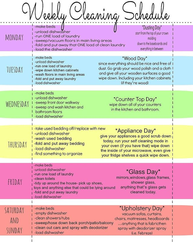 weekly cleaning schedule, cleaning tips, organizing
