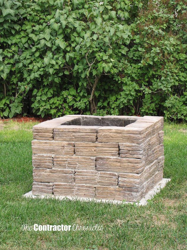 backyard fire pit, concrete masonry, diy, outdoor living