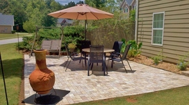 diy a new patio made of solid granite pavers better than cement pavers, concrete masonry, outdoor living, patio