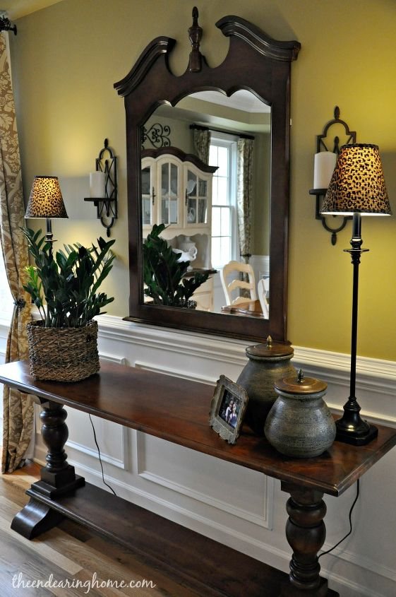 Consignment Store Buffet/Console $450 and Mirror $50, Ballard Design Buffet Lamps/Shades $170 for the pair.