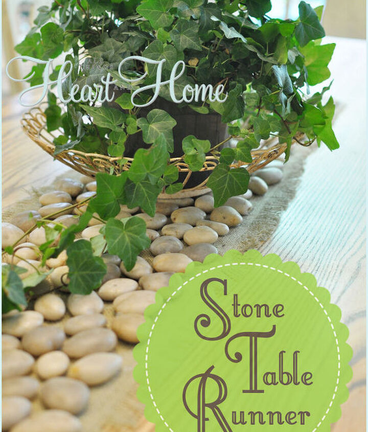 I brought a little of the outdoors in with this easy Stone Table Runner~