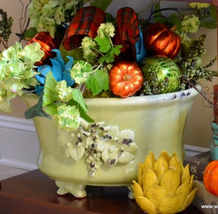 Gorgeous urn filled with Fall goodies