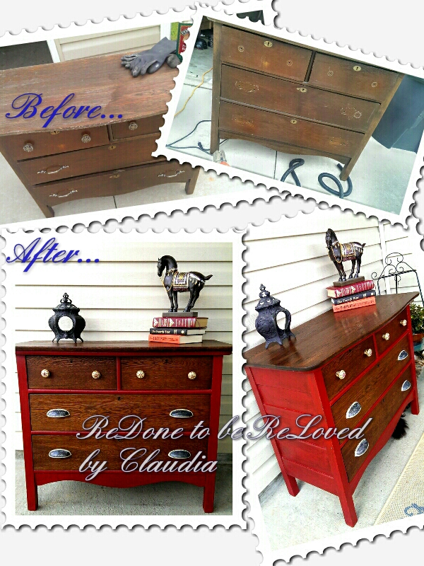 ruby red antique oak dresser, painted furniture - Ruby