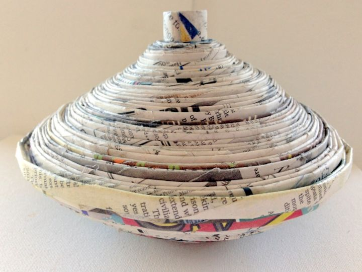 recycled newspaper bowl with lid diy, crafts, go green