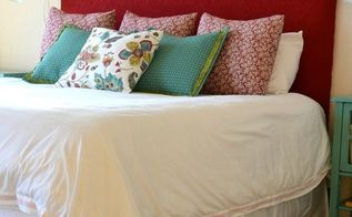 diy fabric covered king size headboard, painted furniture, reupholster, DIY king sized fabric covered headboard I used a sheet of plywood foam batting and fabric to create this custom look