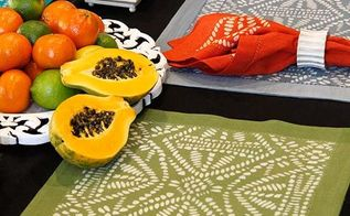 how to stencil tribal batik place mats with discharge paste, crafts, painted furniture, See full how to here
