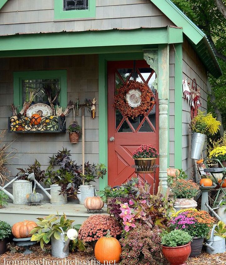 a potting shed happy harvest, gardening, seasonal holiday d cor