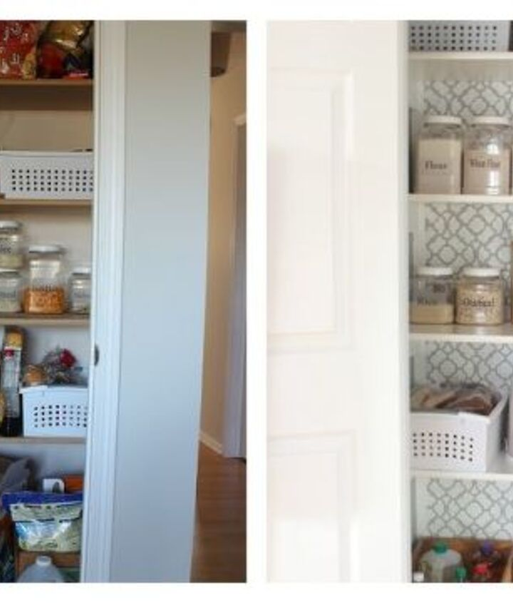 Before, unorganized and plain looking pantry.  After, a pretty, organized space!