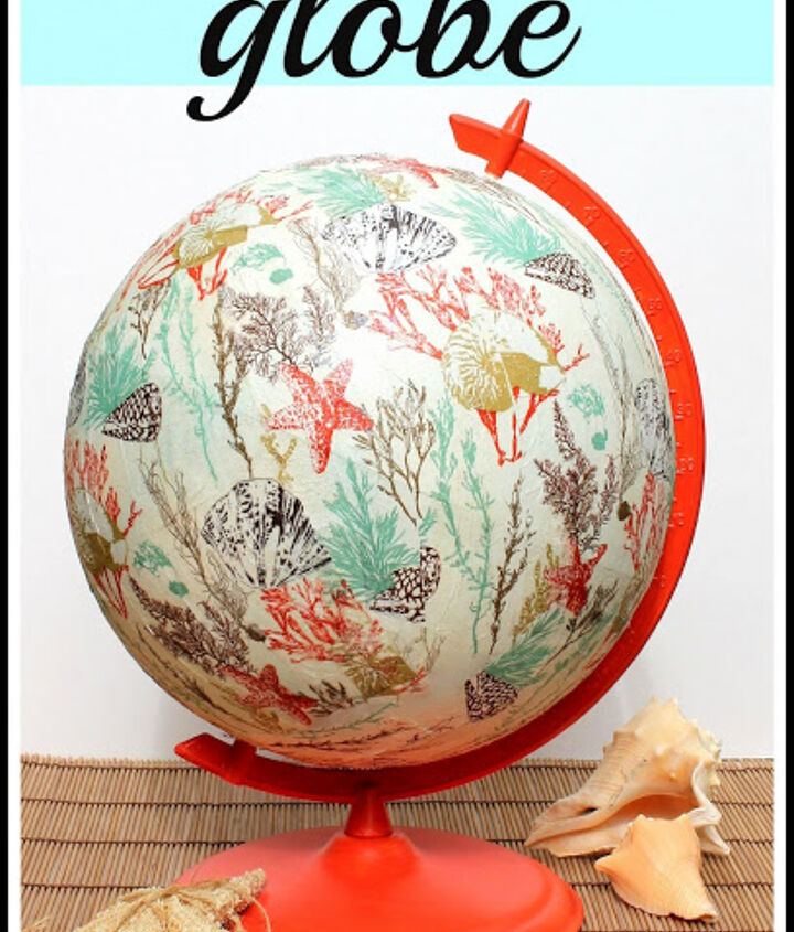 Coral colored paint, some Mod Podge and paper napkins gave this globe a fun coastal look.  http://www.thevspotblog.com/2013/05/-diy-coastal-inspired-globe.html
