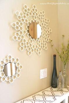 pvc pipe mirror, foyer, home decor, repurposing upcycling