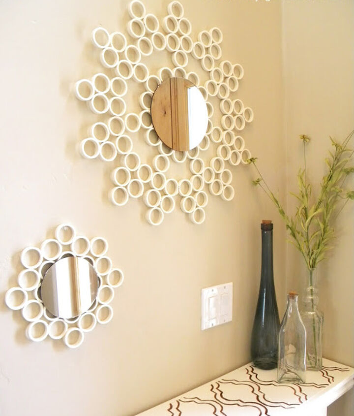 pvc pipe mirror, foyer, home decor, repurposing upcycling