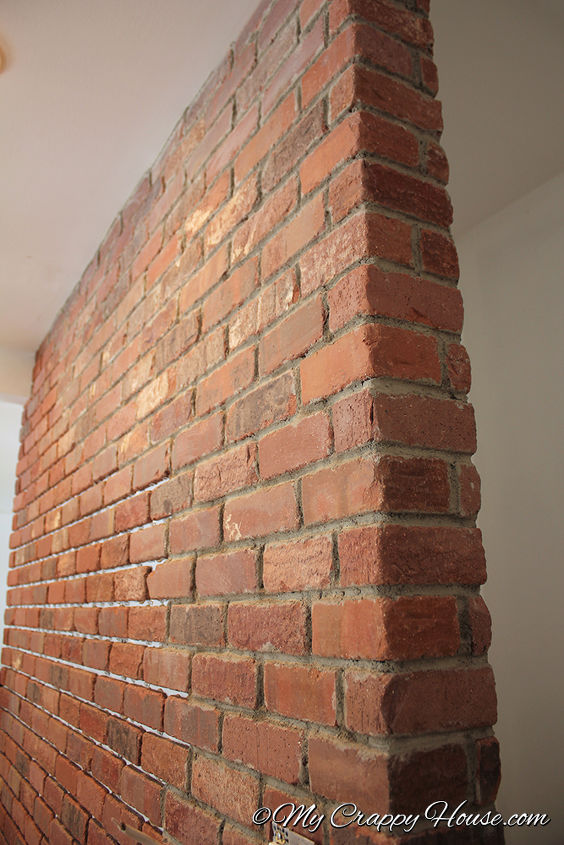 Here's a close up of the real brick wall I installed in my house. (Mortaring in progress here)