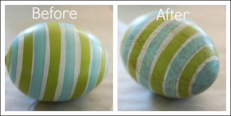 """I used """"burnt umber"""" to antique the eggs. The photo is really close up, the egg actually looks better far away."""