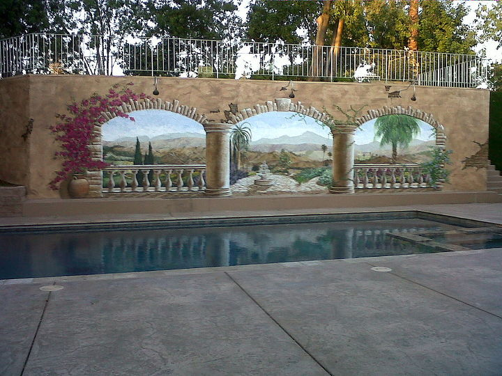 this is one couples solution to beautify a horrible plain white retaining wall in, decks, flowers, painting, Wall Murals and Custom Artwork by Amber Dawn