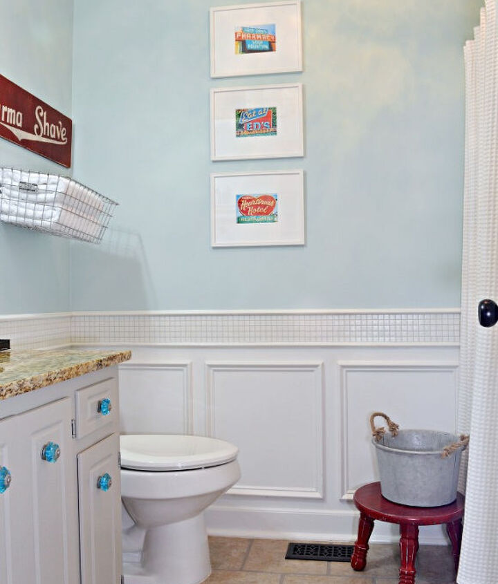 red and turquoise guest bathroom