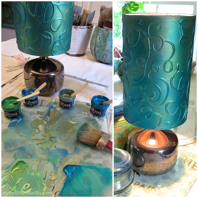 Add a hand painted raised pattern to a lamp shade using textura add a hand painted raised pattern to a lamp shade using textura paste chalk paint aloadofball Gallery
