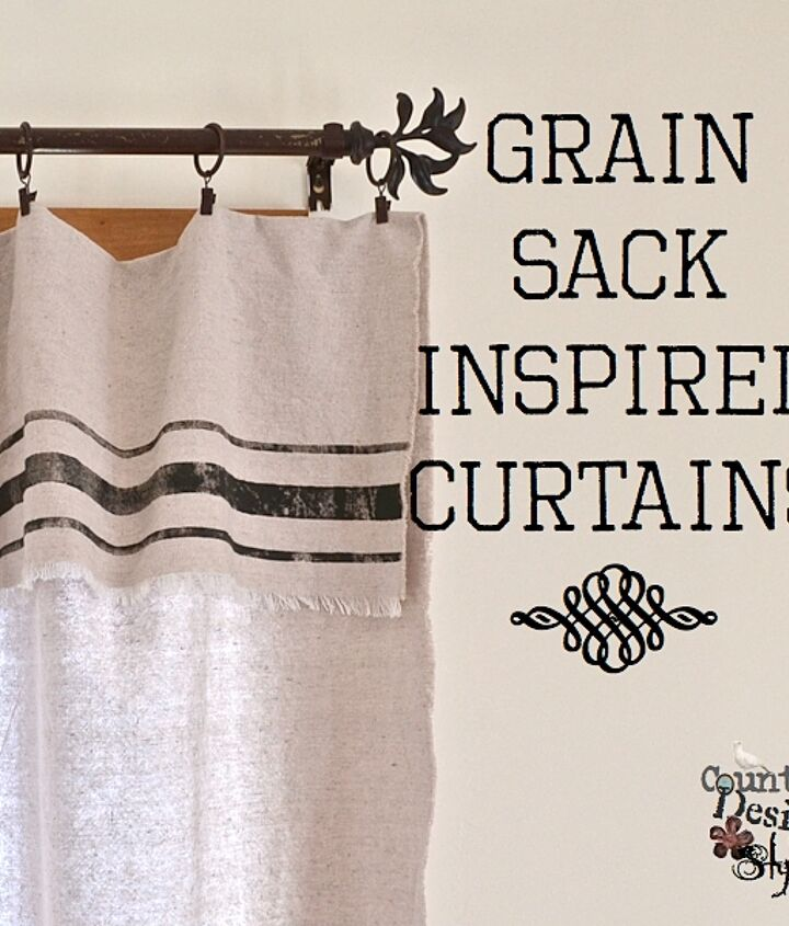 Grain Sack Inspired Curtains from drop cloths.