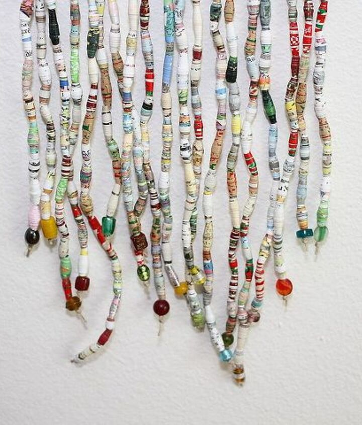 colorful recycled book bead curtain art, crafts, home decor, repurposing upcycling