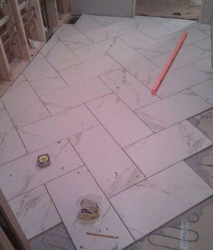 heated floor, herringbone pattern