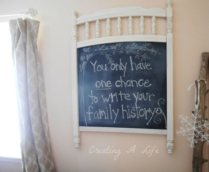 Junked crib panel becomes vintage style chalkboard