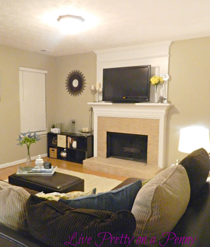 family room now- mosaic tile DIY