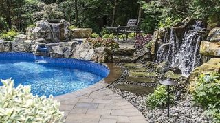 q need soundproof or reducing fence idea, fences, Pondless waterfall used to mask loud street noise