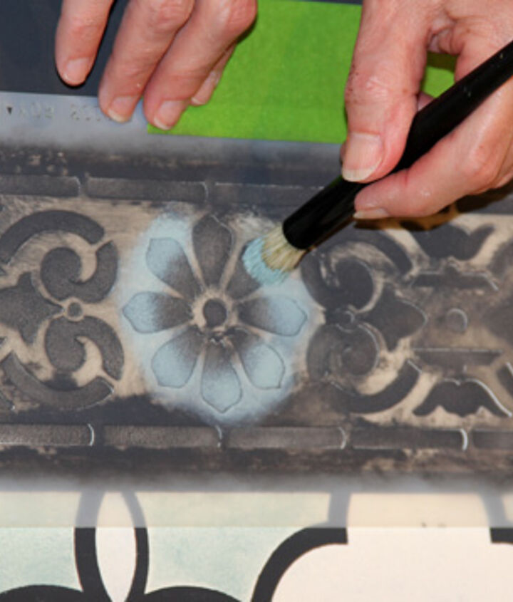 Our Stencil Brushes, which are available in various sizes, are the perfect tool for these smaller detail areas. http://www.royaldesignstudio.com/collections/stencil-brushes