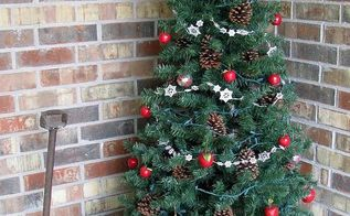 our front porch tree, christmas decorations, curb appeal, porches, seasonal holiday decor, Apples pine cones and more