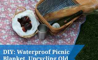 upcycle your old reusable grocery bags into waterproof picnic blanket, repurposing upcycling