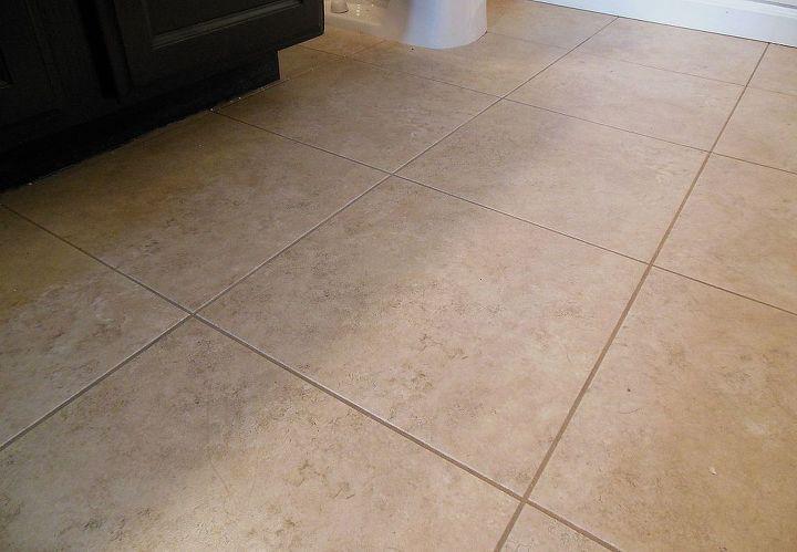 grouted vinyl tile, bathroom ideas, flooring, tile flooring, tiling, Phase 1 of our bathroom renovation complete