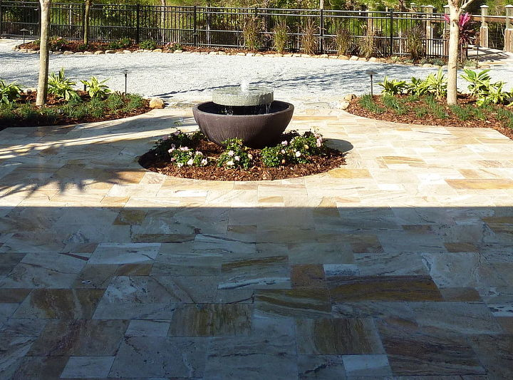 unique millstone fountain project in orlando area, gardening, lighting, patio, ponds water features, Finished