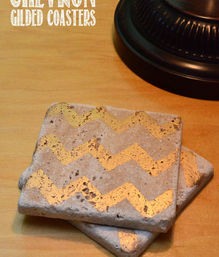 chevron gilded coasters, crafts