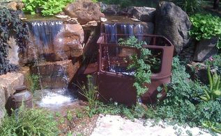 antique car pondless waterfall, landscape, outdoor living, ponds water features, repurposing upcycling, Multiple waterfalls with a unique twist