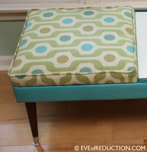 After photo of restored, reupholstered 1960s mod bench