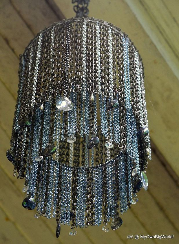 the chaindelier, lighting, repurposing upcycling, Started with old chain but ran out
