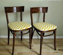 curbside find makeover bentwood chairs with chevron seats, painted furniture